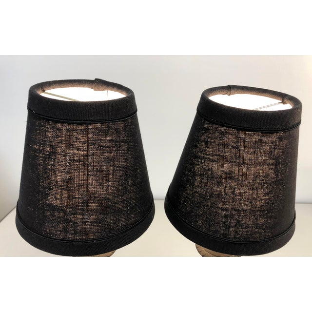 Metal English Traditional Black Linen Lamp Shades - Set of 6 For Sale - Image 7 of 8