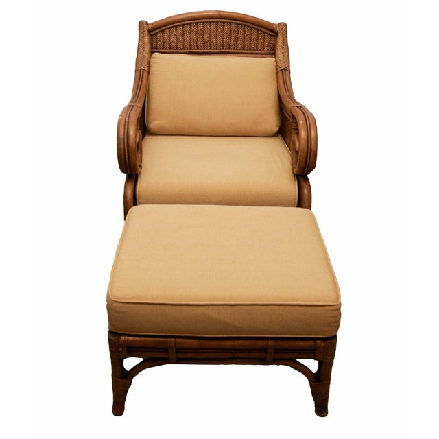 Rattan Wicker Chair & Ottoman W/ Upholstered Seat - Image 1 of 9
