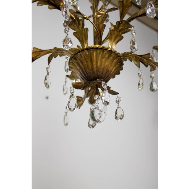 1940s Italian Five Light Gold Leaf and Crystals Chandelier For Sale - Image 5 of 9