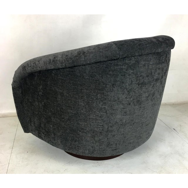 Gray Milo Baughman Roll Arm Swivel Lounge Chairs - a Pair For Sale - Image 8 of 10