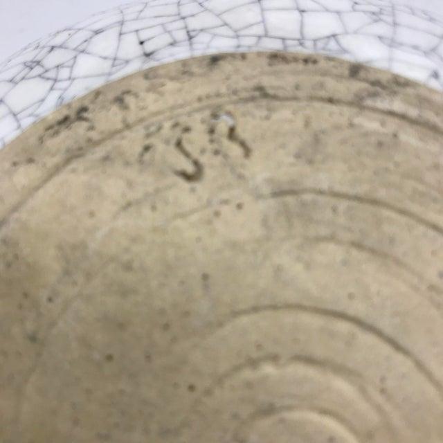 Studio Pottery Signed Crackle Glaze Lidded Ginger Jar For Sale - Image 11 of 13
