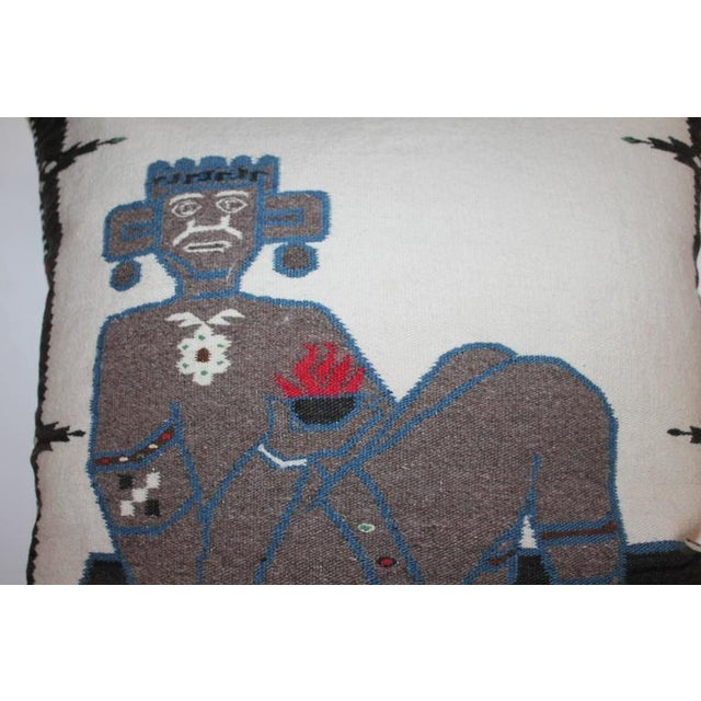 Monumental Chac Mool Mexican/American Indian Weaving Pillow - Image 1 of 4