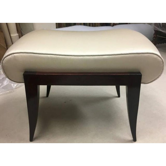 Maison Dominique Maison Dominique Rarest Refined Art Deco Bench Newly Covered in Satin Silk For Sale - Image 4 of 6