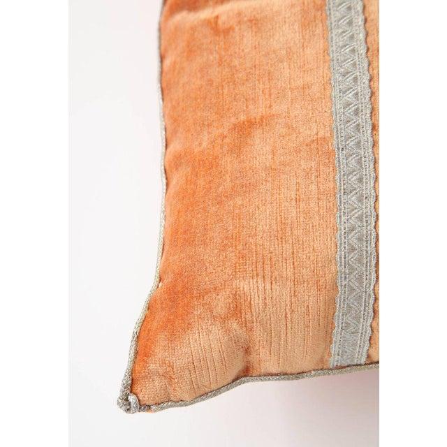 B. VIZ Design Modern Velvet Pillow With Antique Metallic Accents For Sale - Image 4 of 6