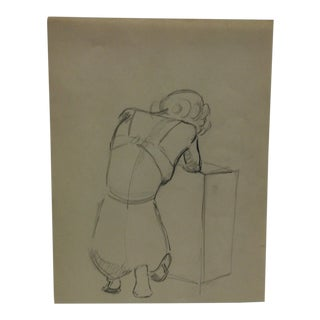 """Vintage Original Drawing on Paper, """"Hunched Over"""" by Tom Sturges Jr., Circa 1945 For Sale"""
