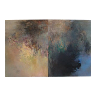 """""""November Composition"""" Diptych Oil Painting by Beatrice Findlay, 1991 For Sale"""