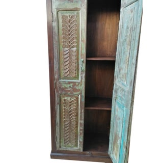 Antique Indian Armoire Rustic Wardrobe Large Cabinet Distressed Storage Preview