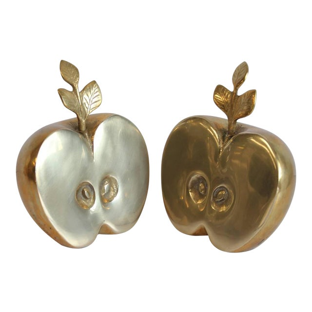 Mid-Century Brass Apple Bookends - A Pair For Sale - Image 4 of 4