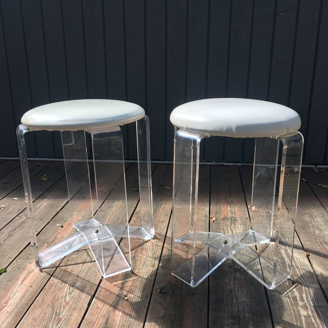 Mid-Century Modern Lucite Vanity Stools- a Pair For Sale - Image 13 of 13