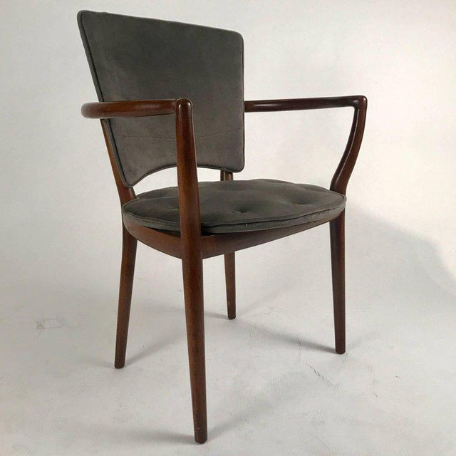 Textile Bert England for Widdicomb Desk/ Armchair in Grey Velvet With Tufting For Sale - Image 7 of 12
