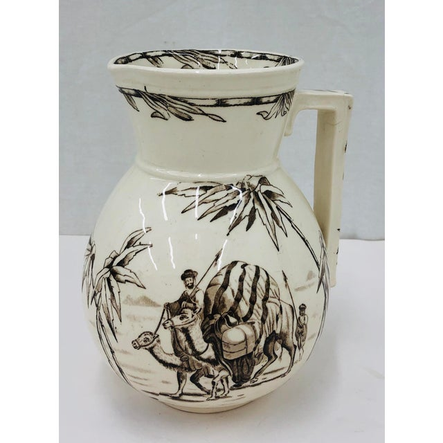 Stunning Antique Brown Transferware Ironstone Pitcher Vase. Original finish fittings and frame. Beautiful coloring, weight...