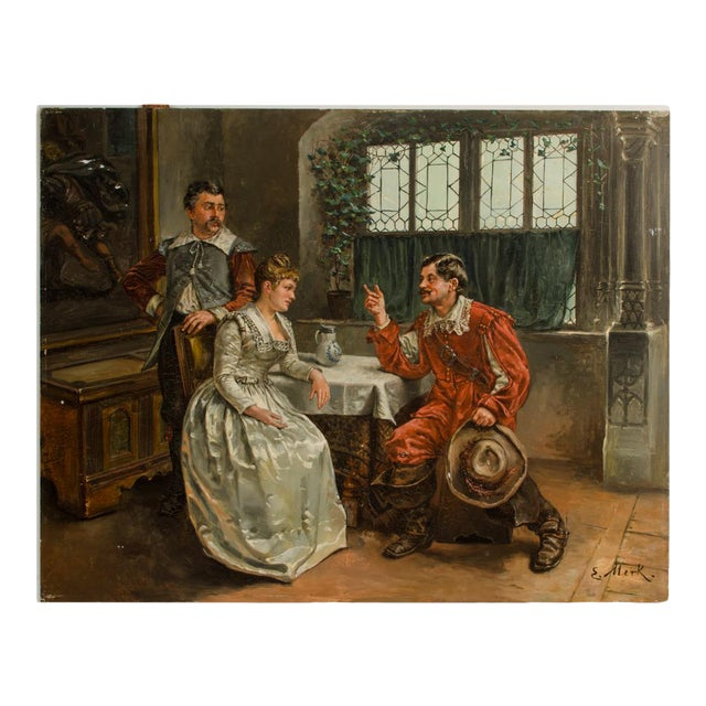 """Mid 19th Century """"The Meeting"""" Figurative Victorian Oil Painting by Eduard Merk For Sale"""