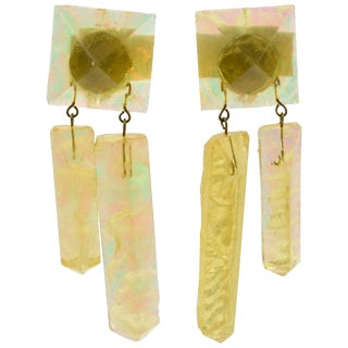 Oversized Italian Pearlized Yellow Ice Rock Lucite Dangling Clip on Earrings For Sale