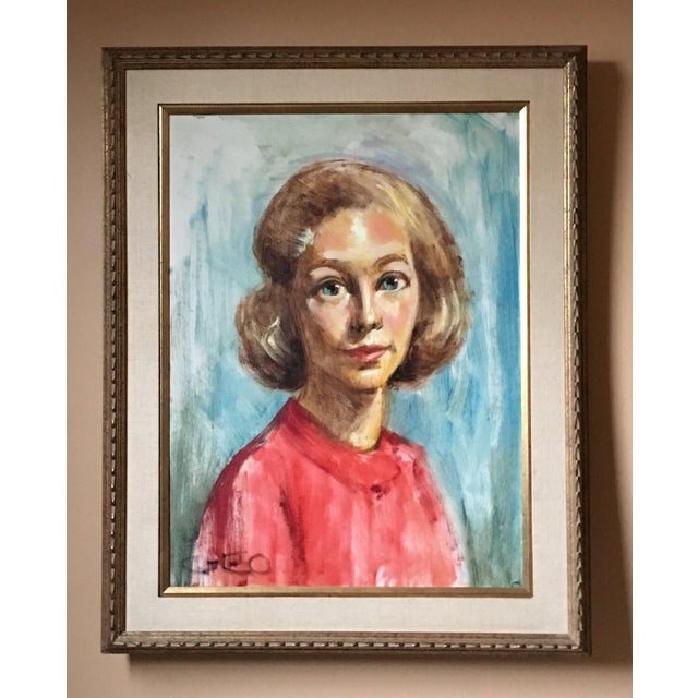 1950s Mid Century Modern Female Portrait Painting Vintage For Sale In Detroit - Image 6 of 11