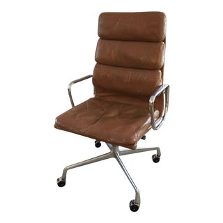 Eames Aluminum Group Brown Leather Desk Chair