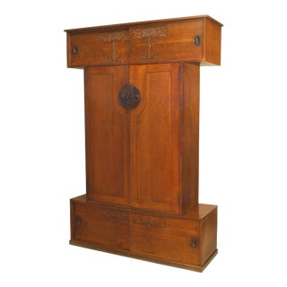 English Arts & Crafts Movement Carved Oak Armoire For Sale