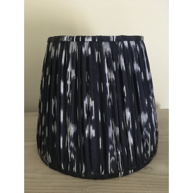 Shirred Indigo Ikat Lampshades - A Pair - Image 3 of 8