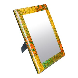 Paper Mache Floral Mirror Frame For Sale