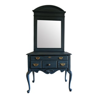 Vintage Queen Anne Teal Lowboy Console Table and Mirror Set - 2 Pieces For Sale