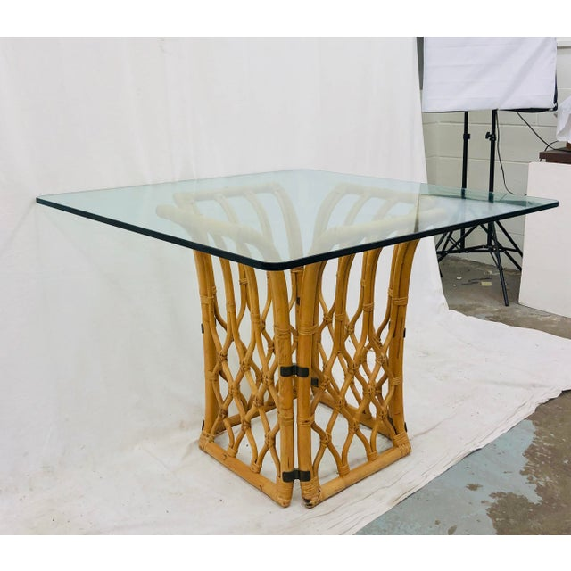 Mid 20th Century Rattan & Glass Table For Sale - Image 5 of 10