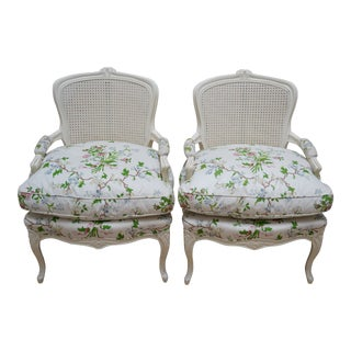 Cane Backed Arm Chairs With Down Filled Floral Cushion - a Pair For Sale