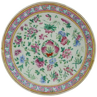 Early 20th Century Antique Chinese Export Hand Painted Porcelain Floral Charger For Sale