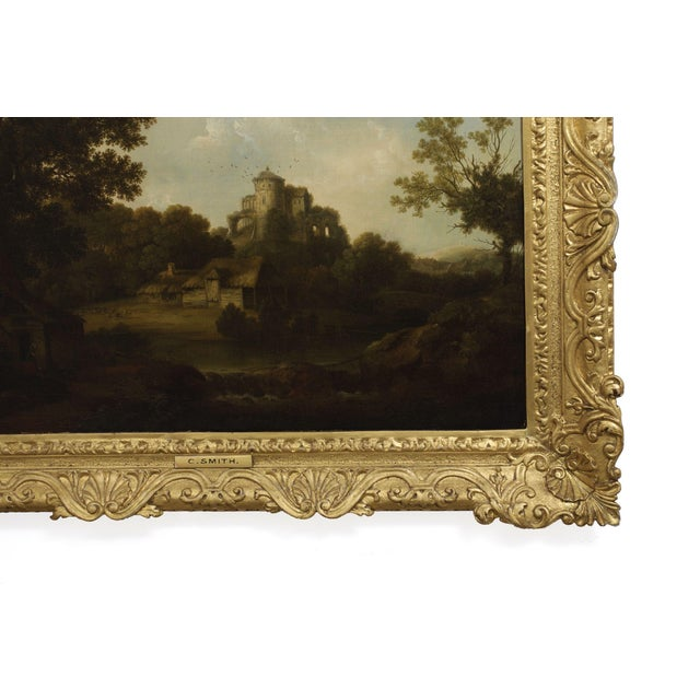 """""""Landscape W/ Castle Ruins"""" Antique English Painting by George Smith of Chichester For Sale - Image 6 of 13"""