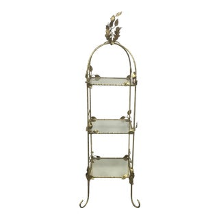 Vintage Leaf Topped Gold Etagere