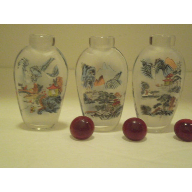 Peking Back Painted Glass Bottles - Set of 4 - Image 10 of 11