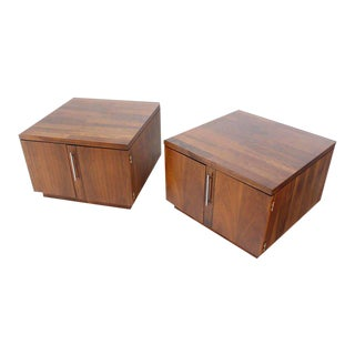 Mid-Century Modern Cube Shape End Table Cabinets- a Pair For Sale