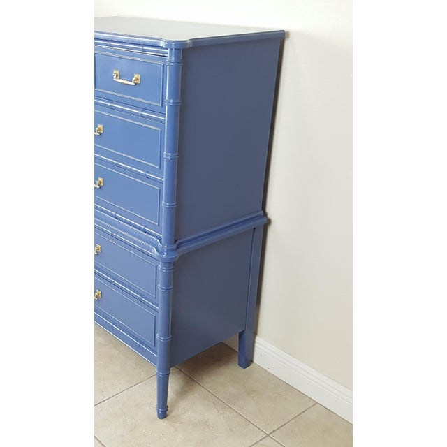 Asian Henry Link Hollywood Regency Bali Hai Blue Faux Bamboo Chest For Sale - Image 3 of 7