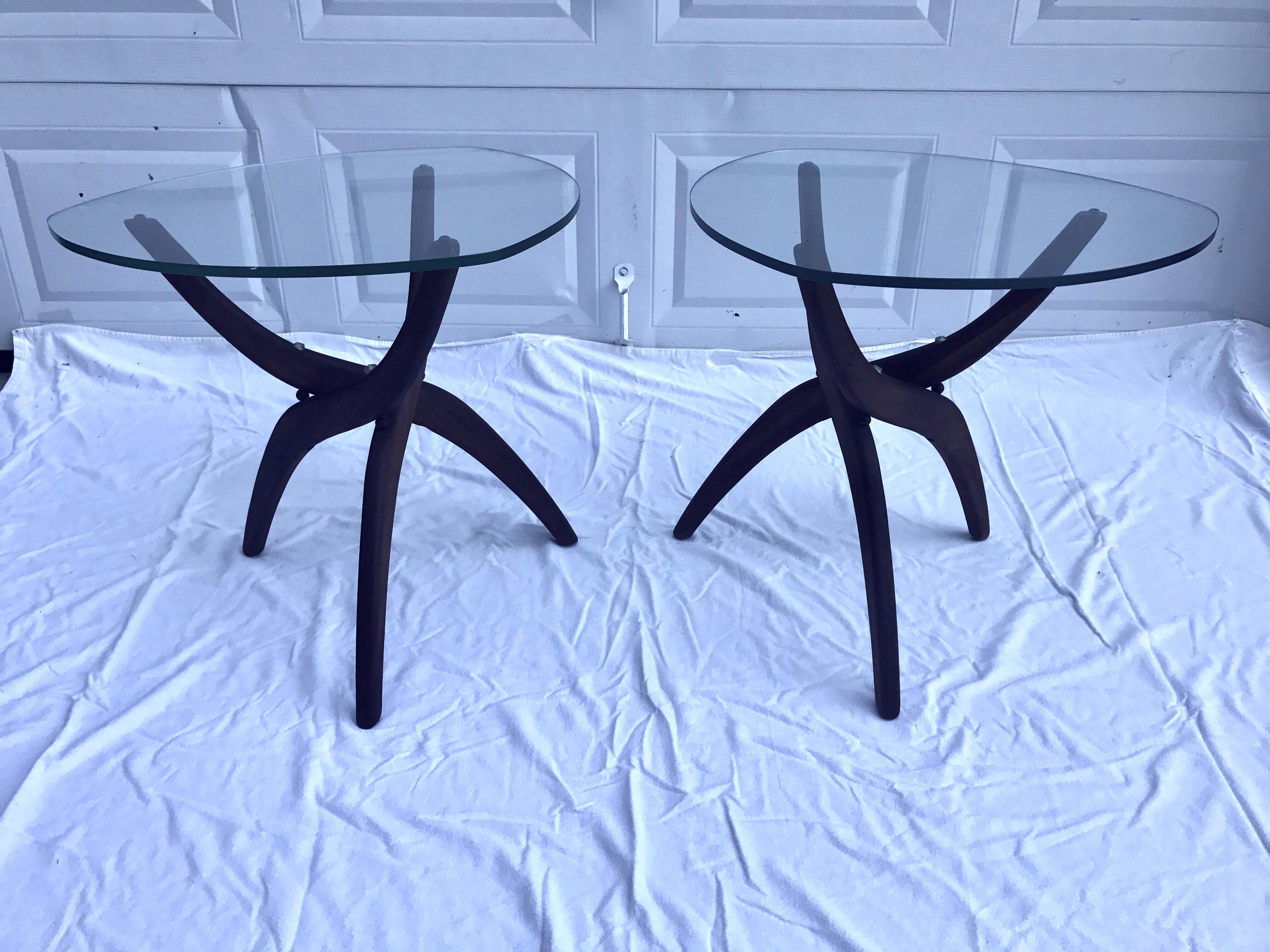 Adrian Pearsall Glass And Walnut Tripod Coffee Table U0026 End Tables   3 Pc.  Set
