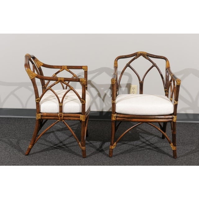Chic Restored Set of 8 Modern Arm Dining Chairs by McGuire, circa 1975 For Sale - Image 12 of 13