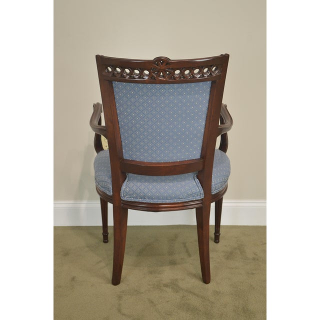 Mahogany Regency Style Vintage Pair of Carved Mahogany Blue Upholstered Arm Chairs For Sale - Image 7 of 13