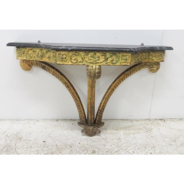 Wood French Style Gilt Carved Faux Marbletop Hanging Shelf For Sale - Image 7 of 7