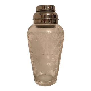 Vintage Hand Etched Cocktail Shaker