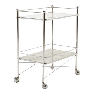 1960s Serving or Bar Cart, Chrome with White Marble Shelves on Casters For Sale