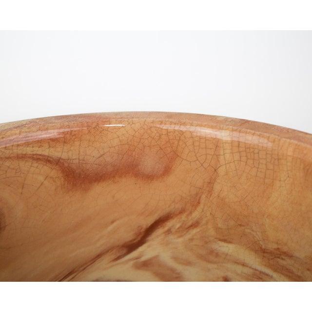 Large Vintage Orange Terra Cotta Swirl Decorative Bowl Planter For Sale - Image 10 of 13