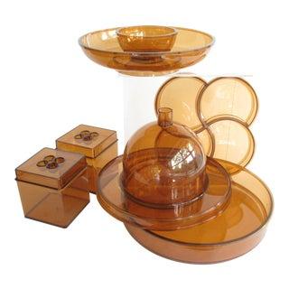 1970s Vintage Gunnar Cyren for Dansk Designs Orange Plastic Serving Set - 6 Pieces For Sale