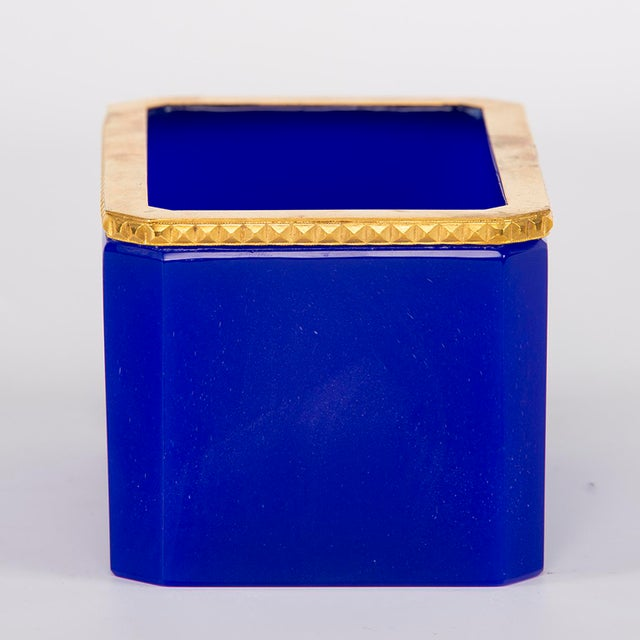 Metal French Royal Blue Opaline Glass Dish With Brass Mounts For Sale - Image 7 of 8