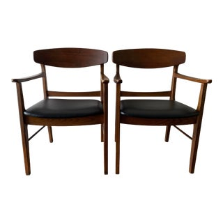 Vintage Mid Century Danish Modern Arm Chairs- A Pair For Sale