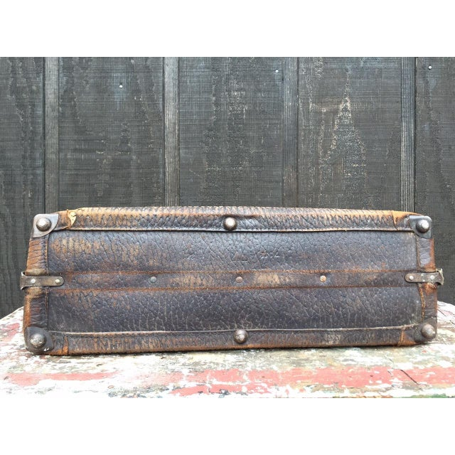 Animal Skin Leather Strap Suitcase For Sale - Image 7 of 13