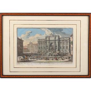 18th Century, Fontana DI Trevi, Giuseppe Vasi, Coloured Engraving For Sale