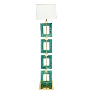 Jade Green Murano Glass and Brass Floor Lamp For Sale