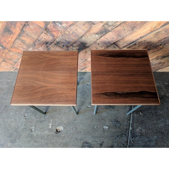 Custom Walnut & Iron Side Tables - A Pair - Image 5 of 5
