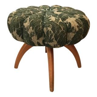 1950s Mid Century Modern Heywood Wakefield Kohinoor Upholstered Vanity Stool For Sale