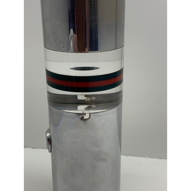 Mid-Century Modern 1970s Gucci Lucite and Chrome Table Lighter For Sale - Image 3 of 8