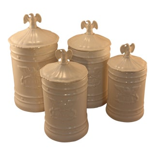 Vintage Ceramic Kitchen Canisters With Eagle Topped Lids - Set of 4 For Sale