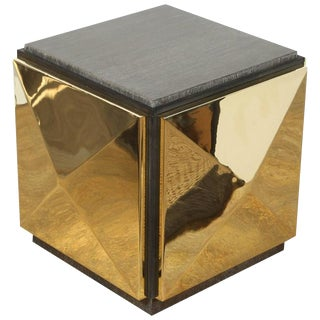 Paul Marra Brass Tile Side Table For Sale
