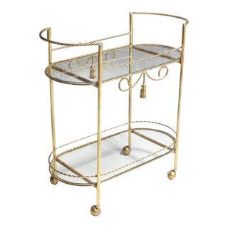 Two Tier Twisted Metal Rope Tassel Design Rolling Tea Cart Server For Sale
